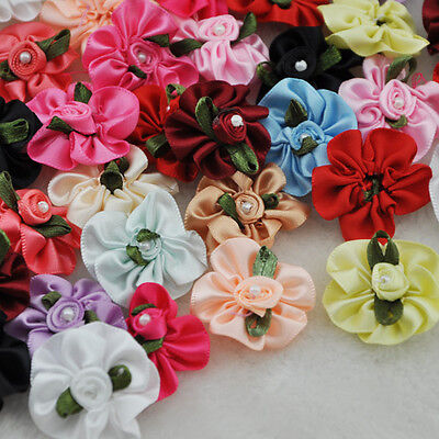 40pcs satin ribbon flowers bows W/pearl wedding/sewing/appliques Lots A01