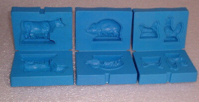 3 Vintage 1973 Kenner Playdoh Molds Farm Animals Blue Cow Pig Chicken Play-Doh