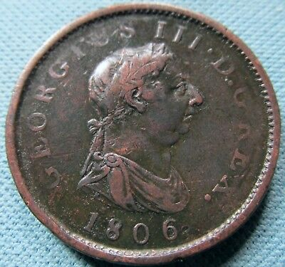 1806 King George III Copper One Penny - Neat Old Coin Georgian Great Britain