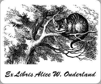 Personalized  Ex Libris Bookplates With Graphic From Alice in Wonderland