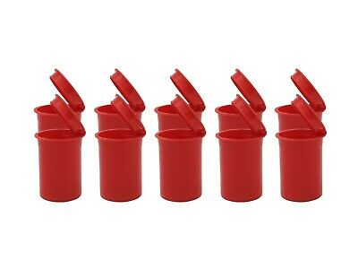 Small 8 Dram 12 Opaque SOLID RED PoP Top Open Storage Jar Bottle Container USA