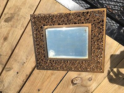 Antique Bradley & Hubbard Cast Metal Bacchus Wall or Table Mirror Beveled Glass