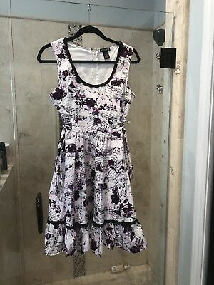 8200f95861f Hot Topic Music 🎼 Floral Rose LRockabilly Dress Lace Up Corset Sides Large