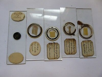 5 x Antique Glass Microscope Slides - Kidneys / Intestines / Crystals of Silver