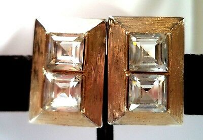 "Stunning Vintage Estate Signed E Rhinestone Square 3/4"" Clip Earrings!!! 9738O"
