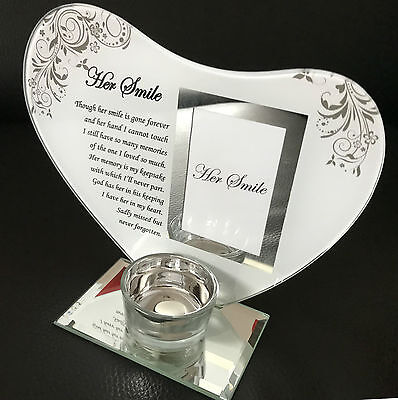 Her Smile Heart Memorial Glass Photo Plaque with Candle Holder Ornament Gift