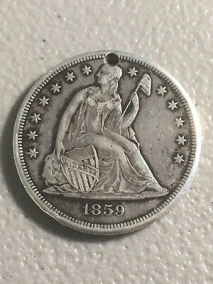1859 Seated Dollar! Au+ Details! $1! Us Coin Lot #8241