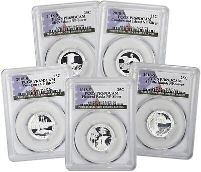 Flag 2018-S Silver Park Quarter Set PR69DCAM PCGS Proof 69 Deep Cameo 5 Coins
