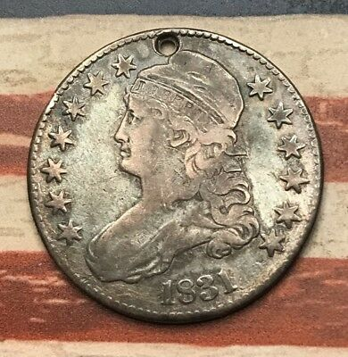 1831 50C Capped Bust Half Dollar 90% Silver Vintage US Coin #HB1 Sharp Appeal