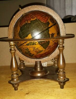 Vintage Zodiac Signs Old World Spinning Globe Wood Stand Base Made in Italy