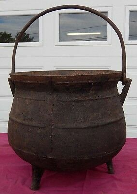Large Antique Cast Iron Cauldron Black Kettle 18th - Early 19th C. All Good