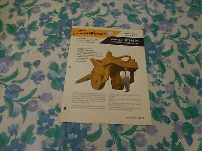 1960's SOUTHWEST TRACTOR TOWED HEAVY DUTY RIPPERS SALES BROCHURE