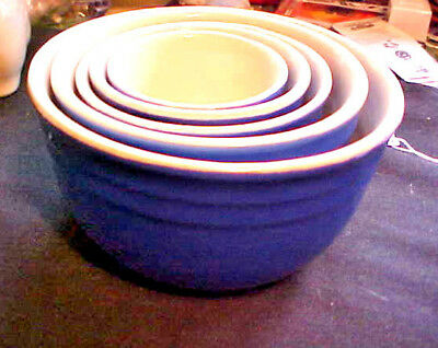 Nice Nesting Set 5 Vintage Oxford Stoneware Mixing Bowls In A Royal Blue Color