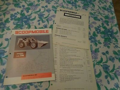 1967 Scoopmobile Model Ld-7A Front End Loader Sales Brochure With Price List
