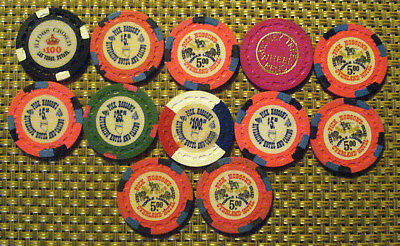 Lot Of12 Small Crown Nevada Casino Chips, Various Locations, All Old Casinos