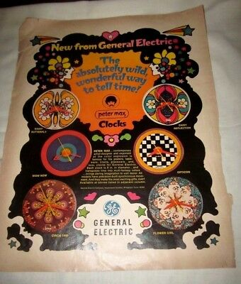 1960's General Electric Print Ad Peter Max Clocks