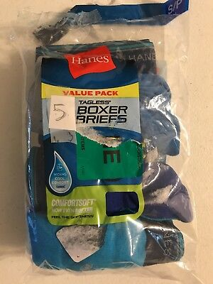 NWT 5 Pack Hanes Boys Boxer Briefs Blue Multi Size Small (6-8) See Photos