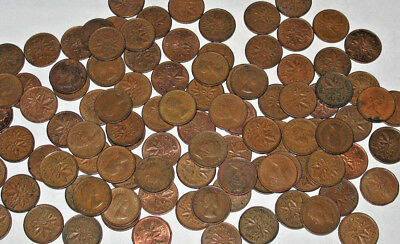 1996 & Prior Canada One Cent (Penny) Mixed Dates Lot of 100 Coins! 2 Rolls!