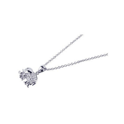 """Womens 925 Sterling Silver RH Clear CZ XO Pendant 16/"""" Necklace"""