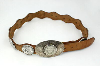 Sterling Silver, Leather & Morgan Dollar Unisex Belt