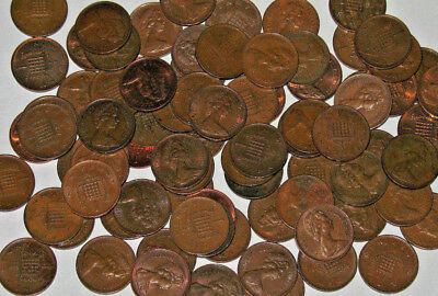 Great Britain UK One Penny & New Penny Mixed Dates Lot of 100 Coins! 2 Rolls!