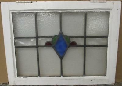 "MID SIZED OLD ENGLISH LEADED STAINED GLASS WINDOW Pretty Diamond 23.5"" x 18"""