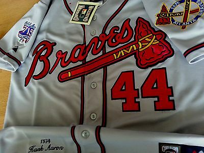 f8e45fd4d Grey Majestic Hank Aaron  44 Atlanta Braves DUAL patches sewn Jersey MEDIUM