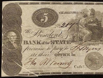 1862 $5 Dollar Bank Of State South Carolina Charleston Note Currency Paper Money