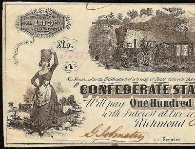 1862 $100 Dollar Confederate States Currency Civil War Note Paper Money Hundo Vf