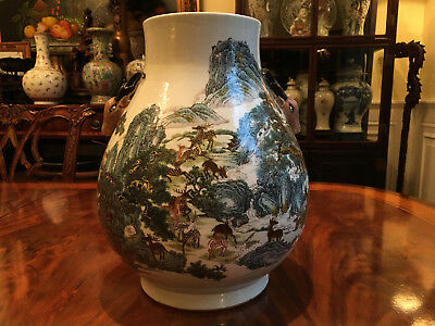 An Excellent Large Chinese Qing Dynasty 100 Deer Famille Rose Zun Vase, Marked.