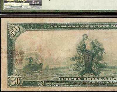LARGE 1914 $50 DOLLAR BILL FEDERAL RESERVE NOTE BIG PAPER MONEY Fr 1038 PMG VF