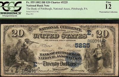 LARGE 1882 $20 DOLLAR BILL PITTSBURGH NATIONAL BANK NOTE CURRENCY Fr 555 PCGS 12