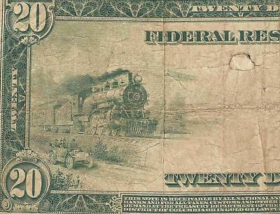 Large 1914 $20 Dollar Bill Federal Reserve Note Big Currency Old Paper Money