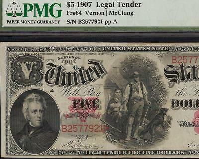 LARGE 1907 $5 DOLLAR LEGAL TENDER WOODCHOPPER NOTE BETTER Fr 84 PMG ONLY 76