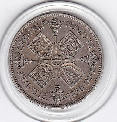 1936   King  George  V  Florin  (2/-)  Sterling Silver (50%)  Coin