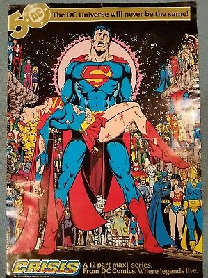 """1985 DC CRISIS ON INFINITE EARTHS 15x22"""" Promo Poster Death of Supergirl - Perez"""