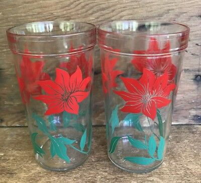 2 Vintage SWANKY SWIG Juice Glasses RED FLORAL Shabby Chic VERY NICE