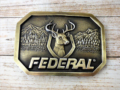 Federal Ammunition Vintage 1970s Indiana Metal Craft Belt Buckle