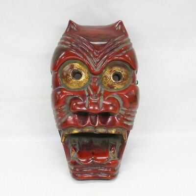 B710: Japanese cultural MASK of ogre called FURYU-MEN of colored wood carving