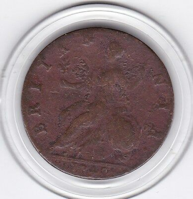 1740 - Clear Date -  King  George  II  Half   Penny  (1/2d)  Copper  Coin