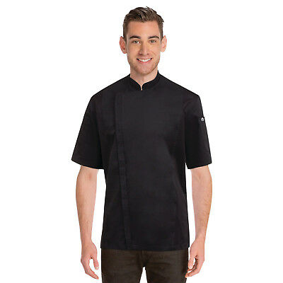 Chef Coat Jacket Black Cannes Press Stud Short Sleeve Chefworks Cook Medium