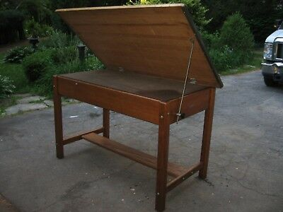 VINTAGE OAK DRAFTING TABLE INDUSTRIAL TILTING ARCHITECT MAYLINE w DRAWERS NICE
