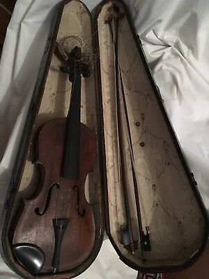 Antique 4/4 2 Bows Germany Japan Restoreration Musical Wood Violin Coffin Case