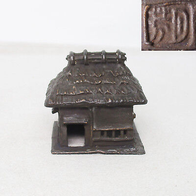 B868: Japanese house statue of copper for tray landscape called BONKEI with sign