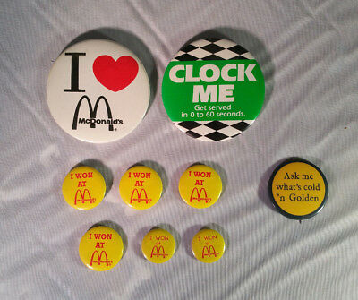 Early 1980s lot of 9 McDONALD's Pin Badge Buttons Pinback