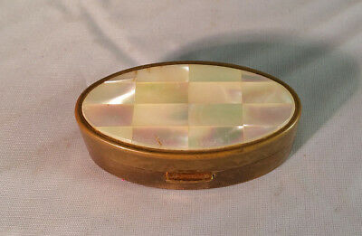 VTG MAX FACTOR~Mother of Pearl~Brass~Lipstick Compact Case (made in England)