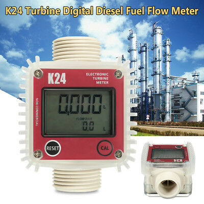 K24 LCD Turbine Digital Fuel Flow Meter Guage Counter for Adbule Chemicals Water