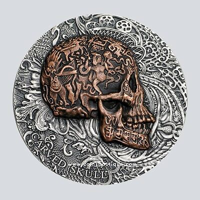 CARVED SKULL 1 oz Ultra High Relief Silver Coin Antiqued Cameroon 2017