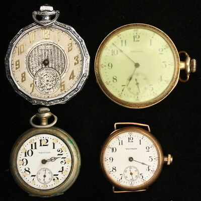Lot Of Four Antique Waltham Watches, Two 10S Pocket, Two 3/0S Pendant/wrist