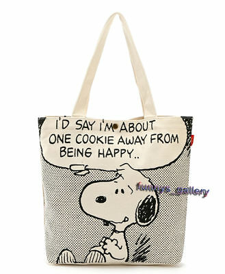 Defective Snoopy Charlie Brown Thick Canvas Tote Handbag Shopping Bag Tote